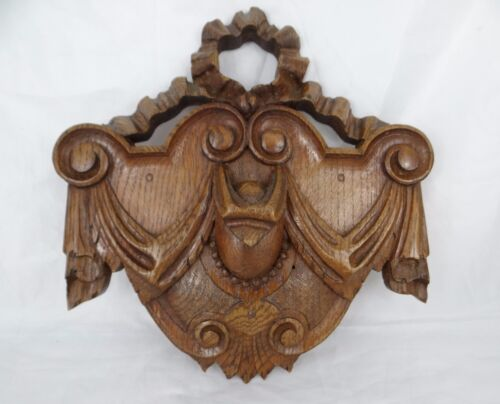 Antique French Hand Carved Pediment Solid Oak Wood-Ribbon Bow Crest Medallion