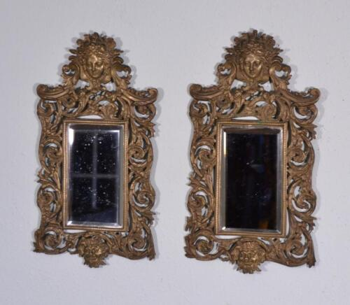 Matched Pair of French Antique Renaissance Revival Bronze Mirrors with Women