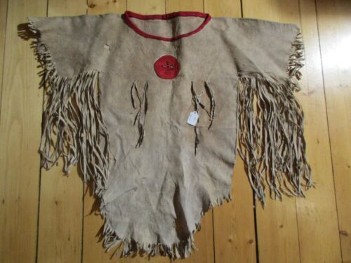 VINTAGE NATIVE AMERICAN BEADED LEATHER SHIRT, FRINGED SHIRT,    ITEM DU-00037