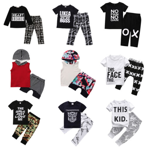 Cute Toddler Kids Baby Boy Outfits Clothes T-shirt Tops+Pants Trousers 2pcs Set