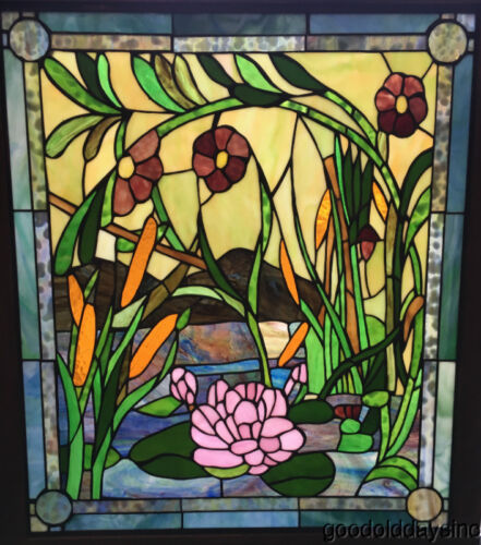 """Beautiful Water Lily & Cattail Stained Glass Glass Window 33"""" by 29""""  Oak Frame"""