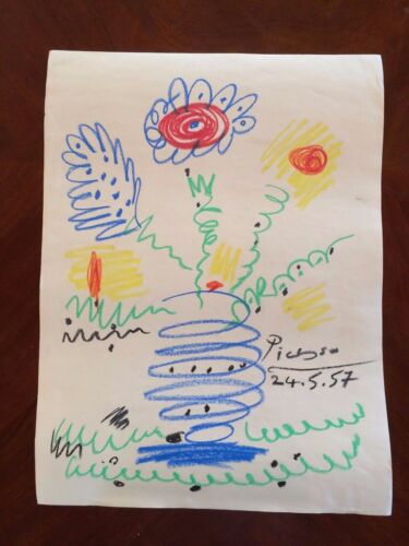 """Large Original Crayon Drawing Signed Picasso Abstract Modernist Painting 21"""""""