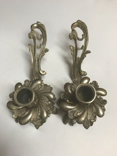 Antique French Louis XV Brass Ornate Handled Candle Holders