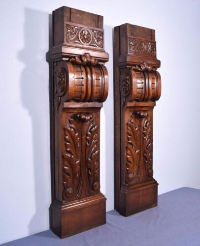 "Pair of 47"" Antique Walnut Wood Posts, Fireplace Mantel Pillars or Columns"