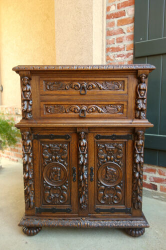 Antique French Carved Oak Renaissance Revival Liquor Cabinet Office Bookcase