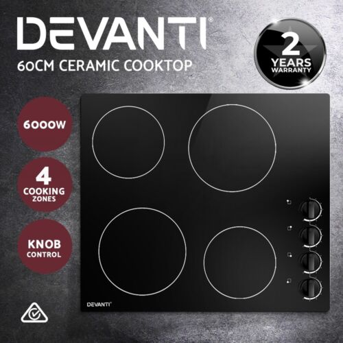 Devanti Ceramic Cooktop 60cm Electric Kitchen Burner Cooker 4 Zone Knobs Control <br/> ✔7 Power Adjustments ✔Overheat Protection ✔2-YR WTY