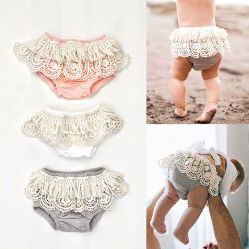 Baby Infant Girl Ruffle Bloomers Bottoms Briefs Shorts Diaper Nappy Cover 0-24M