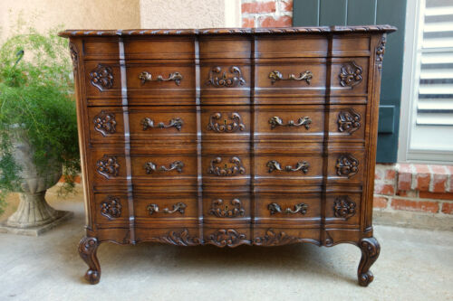 Antique French Carved Tiger Oak Chest of Drawers Louis XV End Table Dresser