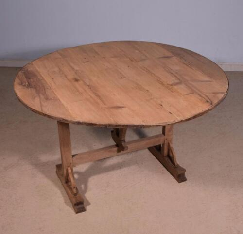 Antique French Wine Tasting Table/Side Table with Tilt Top in Oak & Pine