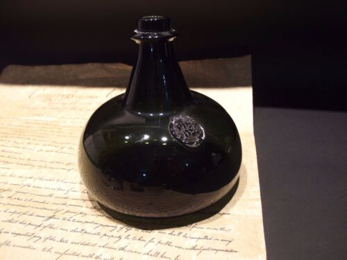 "8"" Antique Vintage Style Colonial Black Glass Blown Onion Bottle (Green)"