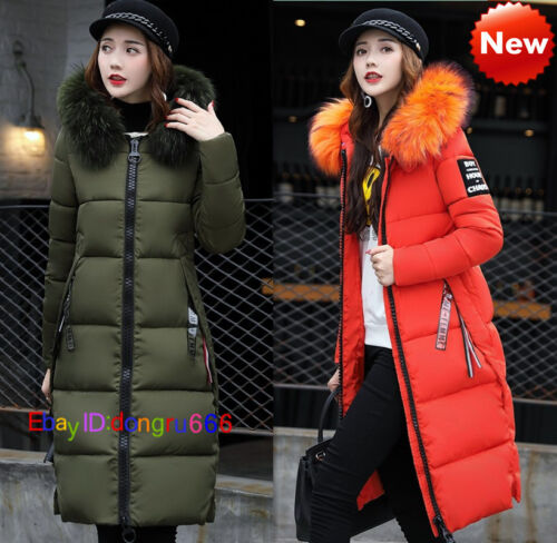 Women Winter Down Cotton Parka Long Big Fur Collar Hooded Coat Jacket outwear