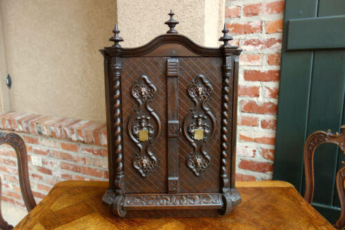 Antique French Carved Wood Wall Medicine Cabinet Box BARLEY TWIST Renaissance