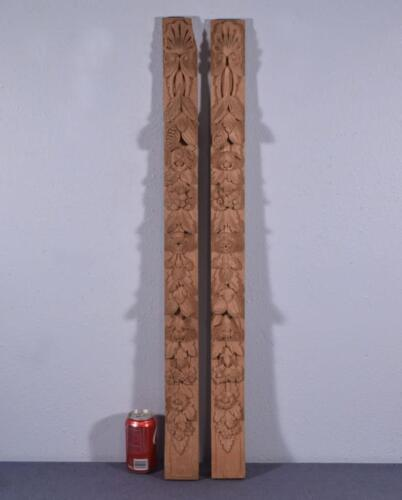 "*37"" Pair of French Trim Posts/Pillars in Highly Carved Oak Wood (Unfinished)"