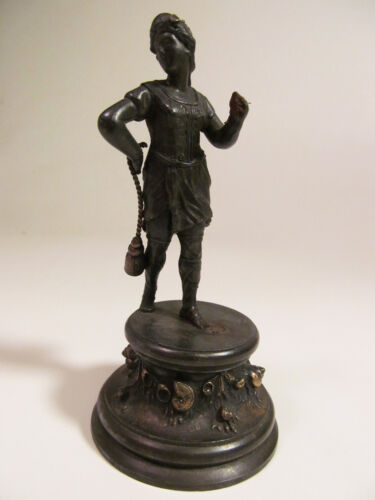 *Antique White Metal Figurine of Lady Warrior with Sea Shells Nautical Base