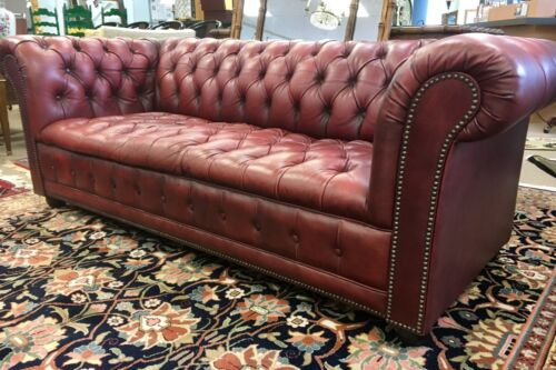 """Vintage Chesterfield Oxblood Sofa Made In Great Britain Nail Heads Pendragon 76"""""""