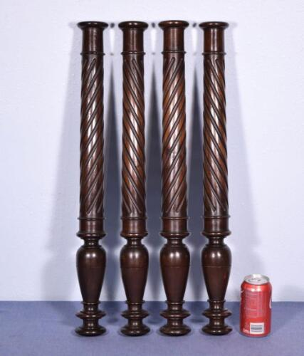 """Set of Four 26"""" French Antique Solid Walnut Posts/Pillars/Columns/Balusters"""