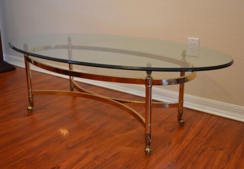 Vintage Solid Brass and Glass Oval Coffee Table by La Barge Hollywood Regency
