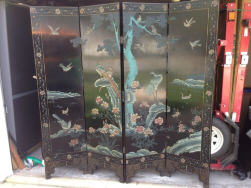 Vintage Asian Chinese 4 Panel Coromandel Screen carved and painted #1
