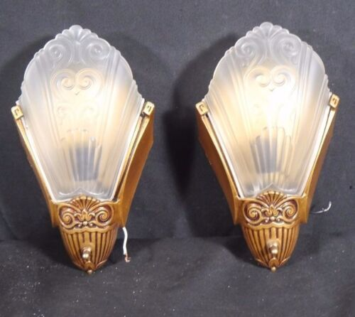 Pair of 1930s ART DECO Wall Sconces with SLIP IN GLASS Shades