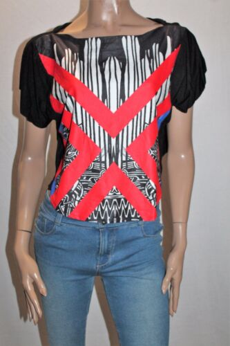 LILY WHYT Brand Black Red Printed Crop Tee Size 6 BNWT #SK92