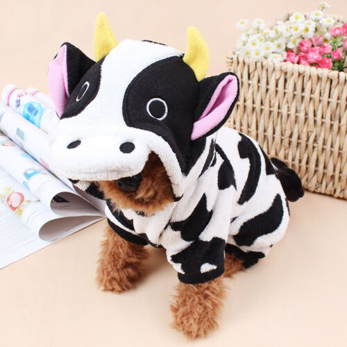 USA Cow Cosplay Cat Costume Soft Pet Jumpsuit Hoodie for Small Animal Clothes