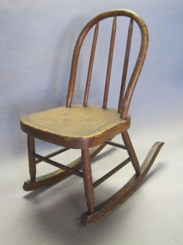 Vintage Wood Child Doll Rocking Chair w Stenciled Design Bent Wood Top Rail Nice