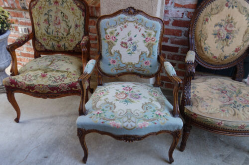 Antique French Louis XV Arm Chair Tapestry Carved Walnut Fauteuil Armchair Blue