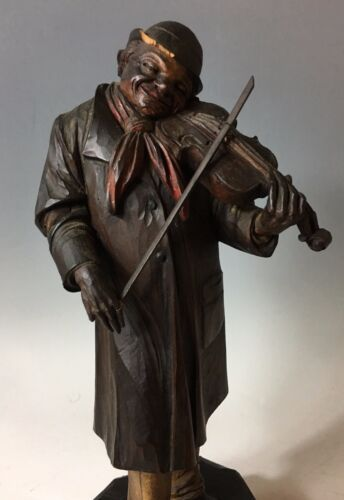 ANTIQUE BLACK FOREST AUTOMATON CARVED WOOD Hobo Violin Player Music Box