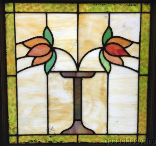 """Classic Chicago Bungalow Stained Leaded Glass Window 2 Flowers w/ Vase 25"""" x 24"""""""
