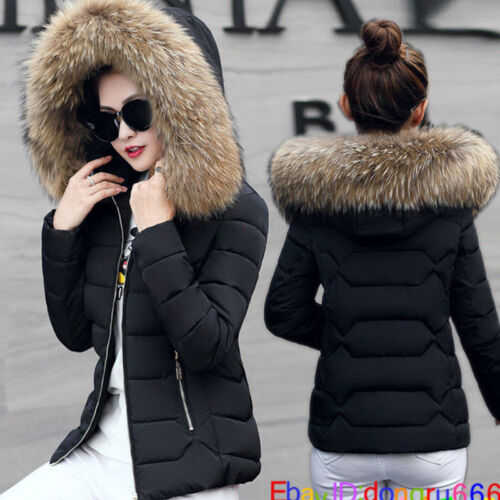Fashion Women Down Cotton Winter Warm Fur Collar Jacket Casual Outwear Coat