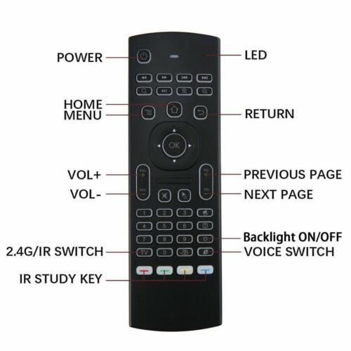 Backlight 2.4G Wireless Fly Air Mouse Remote Control For Smart TV BOX Android PC