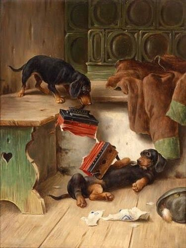 Art oil painting lovely and cute Two dogs grab an accordion in room Hand painted
