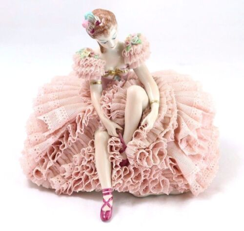 Fine Dresden Figurine of Woman in Pink Tying Shoes 6.75""