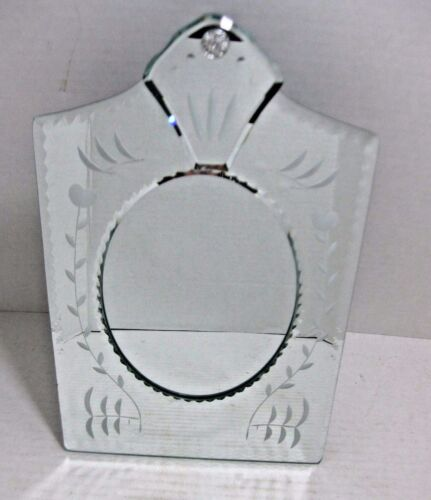 Venetian Glass Mirror Etched Scalloped Picture Frame Table Top Floral Design