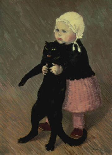 """Oil painting Hand painted little girl holding her black pet cat on canvas 36"""""""
