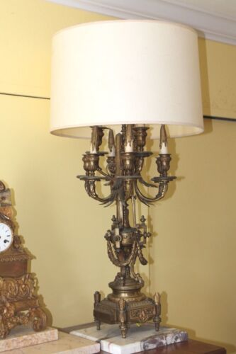 19thc Monumental and Neoclassical Gilt Bronze Lamp, 8 original Candle Holders