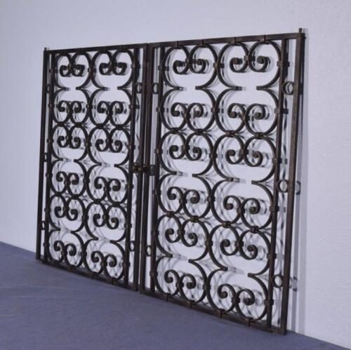*Pair of Vintage French Wrought Iron Panels Doors/Window Salvage