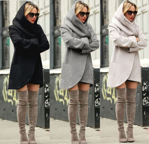 Women Fashion Warm Hooded Long Coat Jacket Trench Windbreaker Parka Outwear