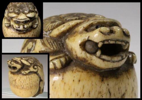 NW20 Japanese Antique Deerbone Lion Netsuke Japan w/ ball