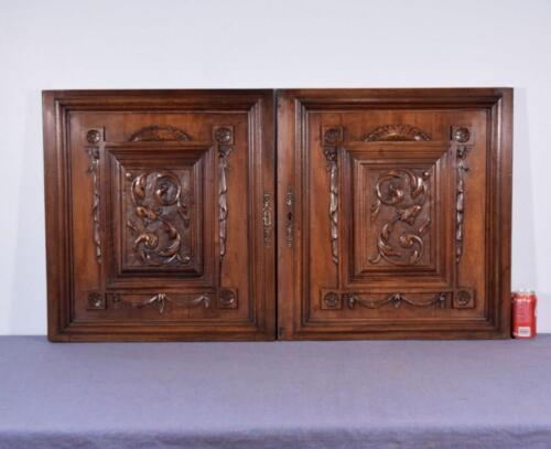 """Pair of 26"""" Tall French Antique Carved Panels/Doors in Walnut Wood"""