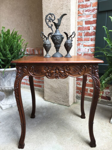 Small Antique French Carved Oak Gothic Hall End Table Renaissance Desk
