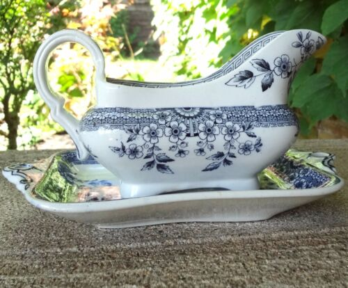 Antique Foley A F & Co GRAVY BOAT & LINER Blue Aesthetic Staffordshire England