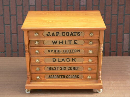 Antique 6 Drawer J & P COATS Sewing Thread Spool Cotton Cabinet chest