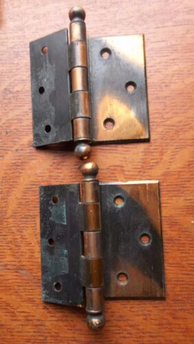 """Two Victorian Antique Copper-Flashed Offset Door Hinges c1885 3 1/2"""""""