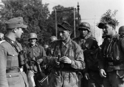 WW2  Photo WWII German Soldiers Confer 1944 World War Two Wehrmacht SS  / 2456Germany - 156432