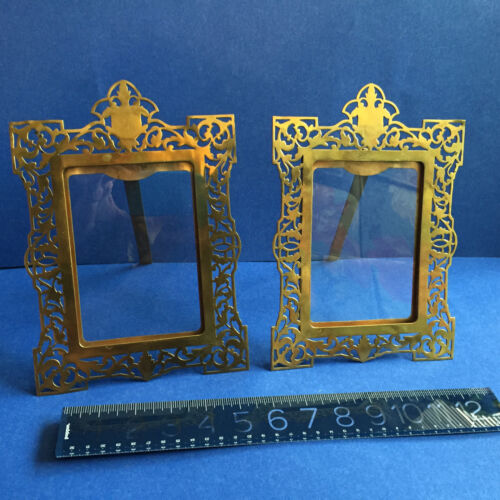 PAIR of English BRASS 19th C. ORNATE Picture Frames with glass VERY FINE ELEGANT