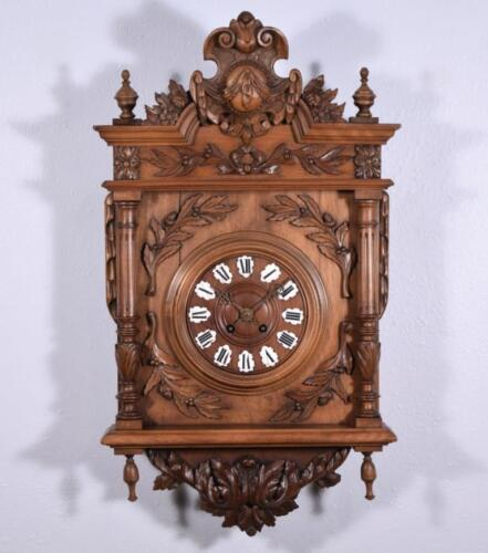 *Antique Henri II Wall Clock with Walnut Wood Case