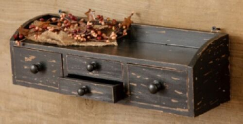 Wood Hanging or Sitting BLACK SHELF/Spice Box Cabinet w/Four Apothecary Drawers