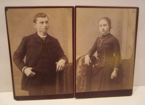 Antique Cabinet Card Photos of Young Man and Young Woman in Hanover, PA 1890-189