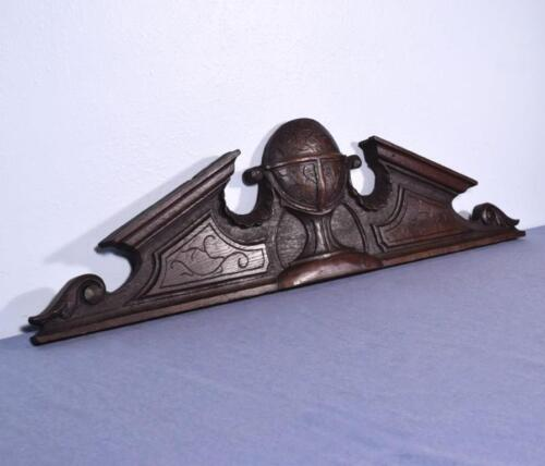 """*40"""" French Antique Pediment/Crest in Oak Wood Salvage with Globe Carving"""